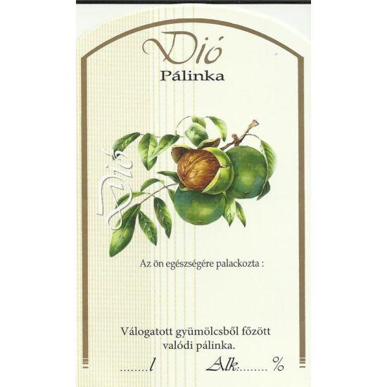 Pálinka üveg címke dió II 10 db/cs