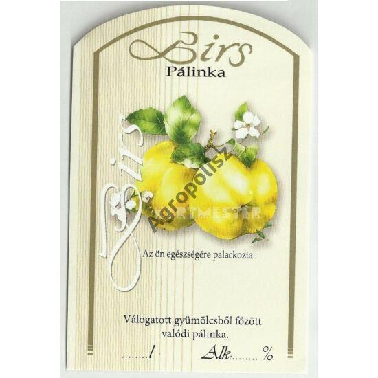 Pálinka üveg címke birs II 10 db/cs