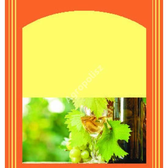 Boros üveg címke sárga alapon pohár