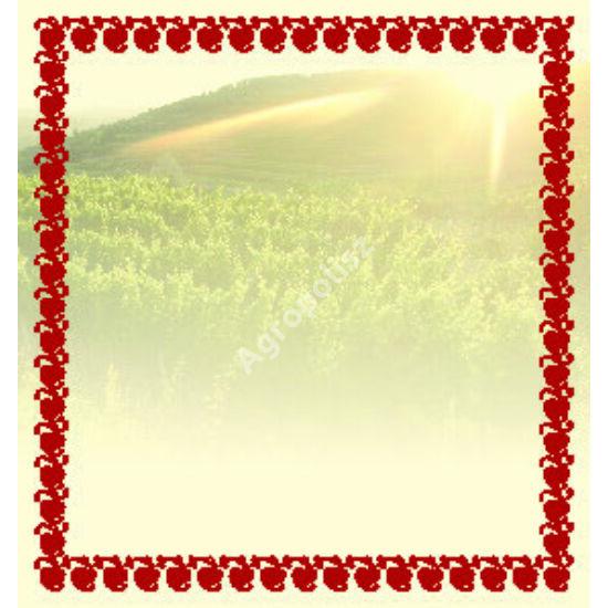 Boros üveg címke körbe piros szegéllyel
