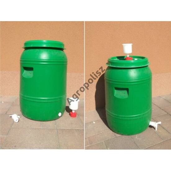 Cefre hordó + kotyogó + csap 120 liter
