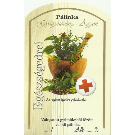 Pálinka üveg címke gyógynövény II 10 db/cs
