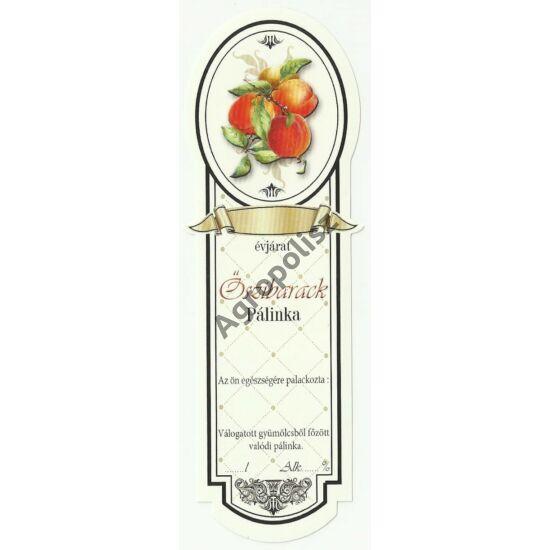 Pálinka üveg címke keskeny őszibarack 10 db/cs