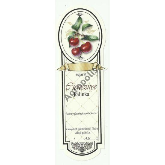 Pálinka üveg címke keskeny cseresznye 10 db/cs