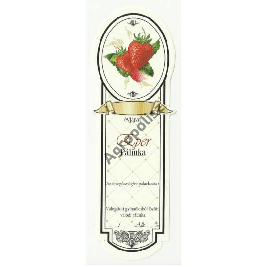 Pálinka üveg címke keskeny eper 10 db/cs