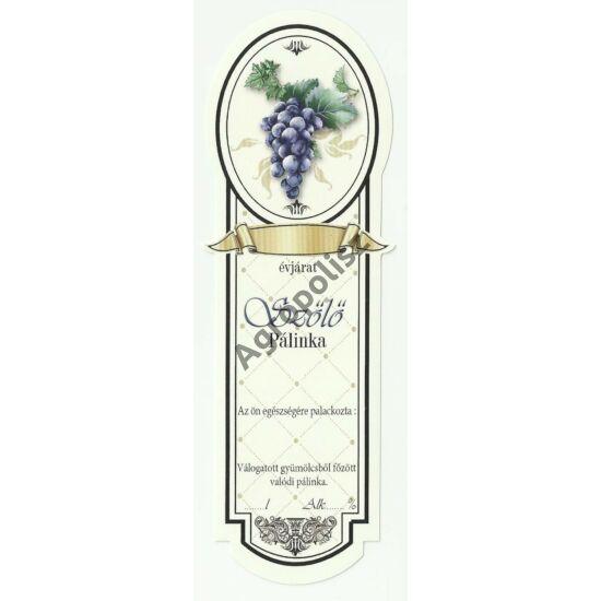 Pálinka üveg címke keskeny kék szőlő 10 db/cs