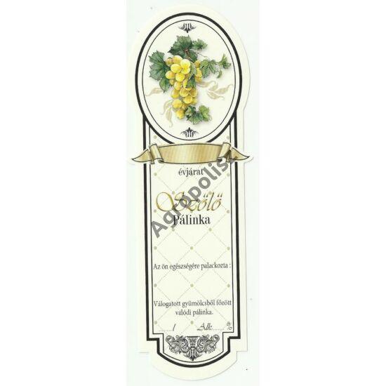 Pálinka üveg címke keskeny fehér szőlő 10 db/cs