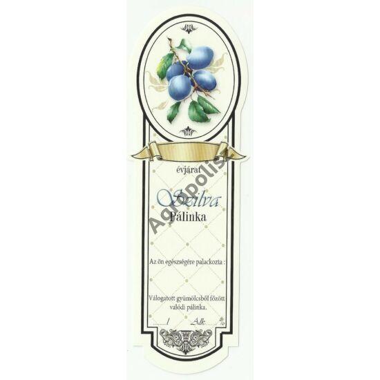 Pálinka üveg címke keskeny szilva 10 db/cs