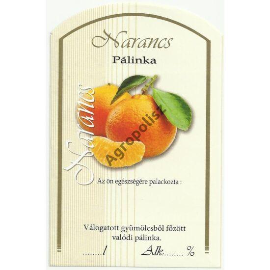 Pálinka üveg címke narancs II 10 db/cs