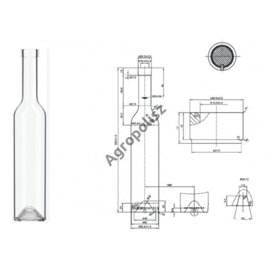 Pálinkás üveg Prima  0,5 l-s 100 db felett