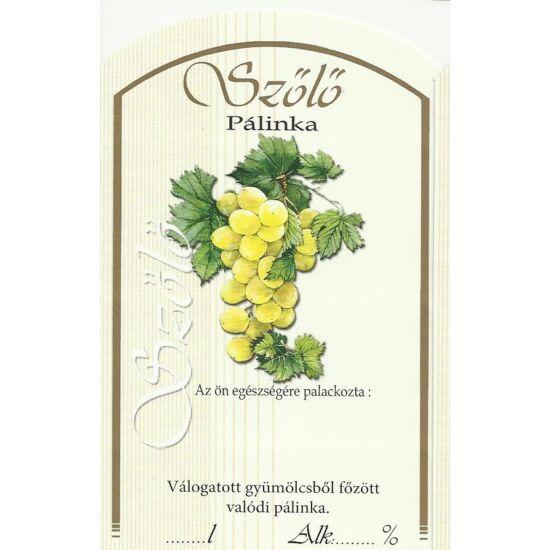 Pálinka üveg címke fehér szőlő II 10 db/cs